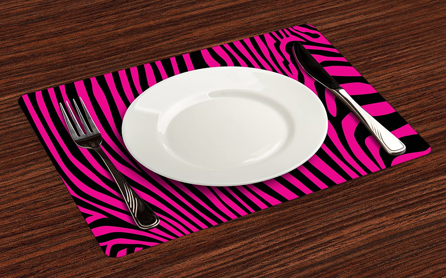 Watercolor Zebra Placemats - Zebras In Blue by littlearrowdesign Animal Print Trend Cloth Placemats by Spoonflower Set of 4