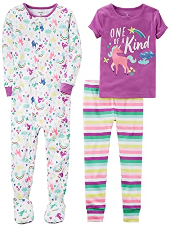 8dab7951e Carter's Baby Girls' 3-Piece Cotton Snug-Fit Pajamas, Unicorn, 12