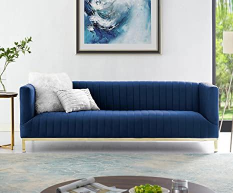Astounding Sean Navy Velvet Tuxedo Sofa Gold Y Legs Stainless Steel Line Stitch Modern Contemporary Inspired Home Creativecarmelina Interior Chair Design Creativecarmelinacom