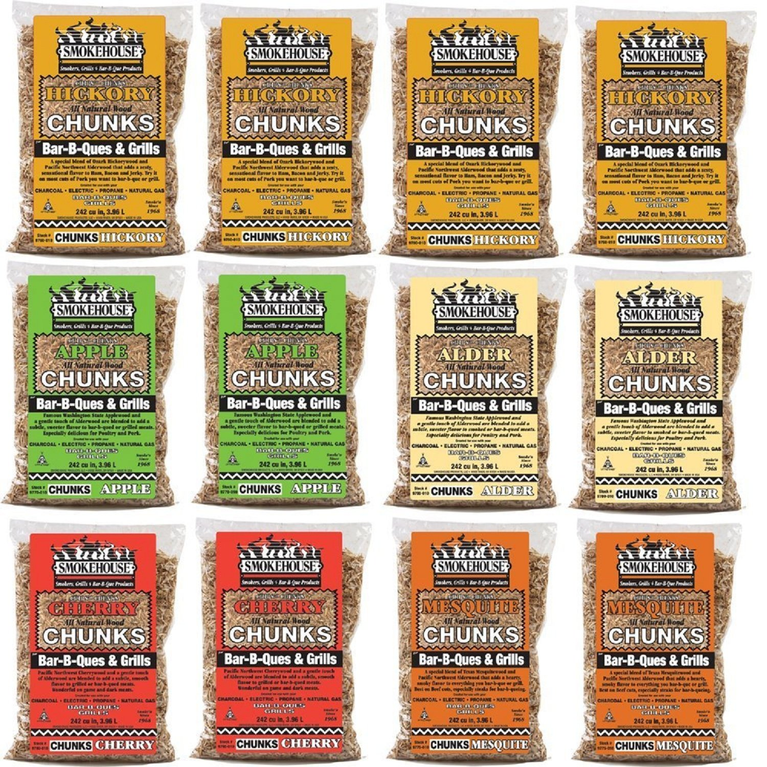 Smokehouse Products All Natural Flavored Wood Smoking Chunks, 12 Pack Assorted Flavors by Smokehouse