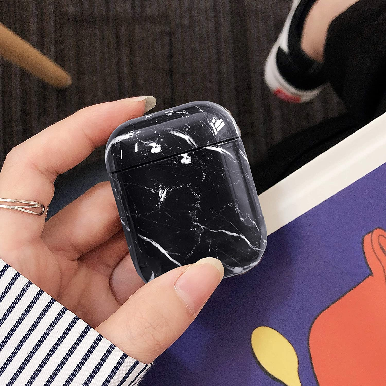 360/°Marble AirPods Hard Protective Case Accessories Kit Compatiable with Apple AirPods 1st//2nd Charging Case Coral 2019 Newest AirPods Case