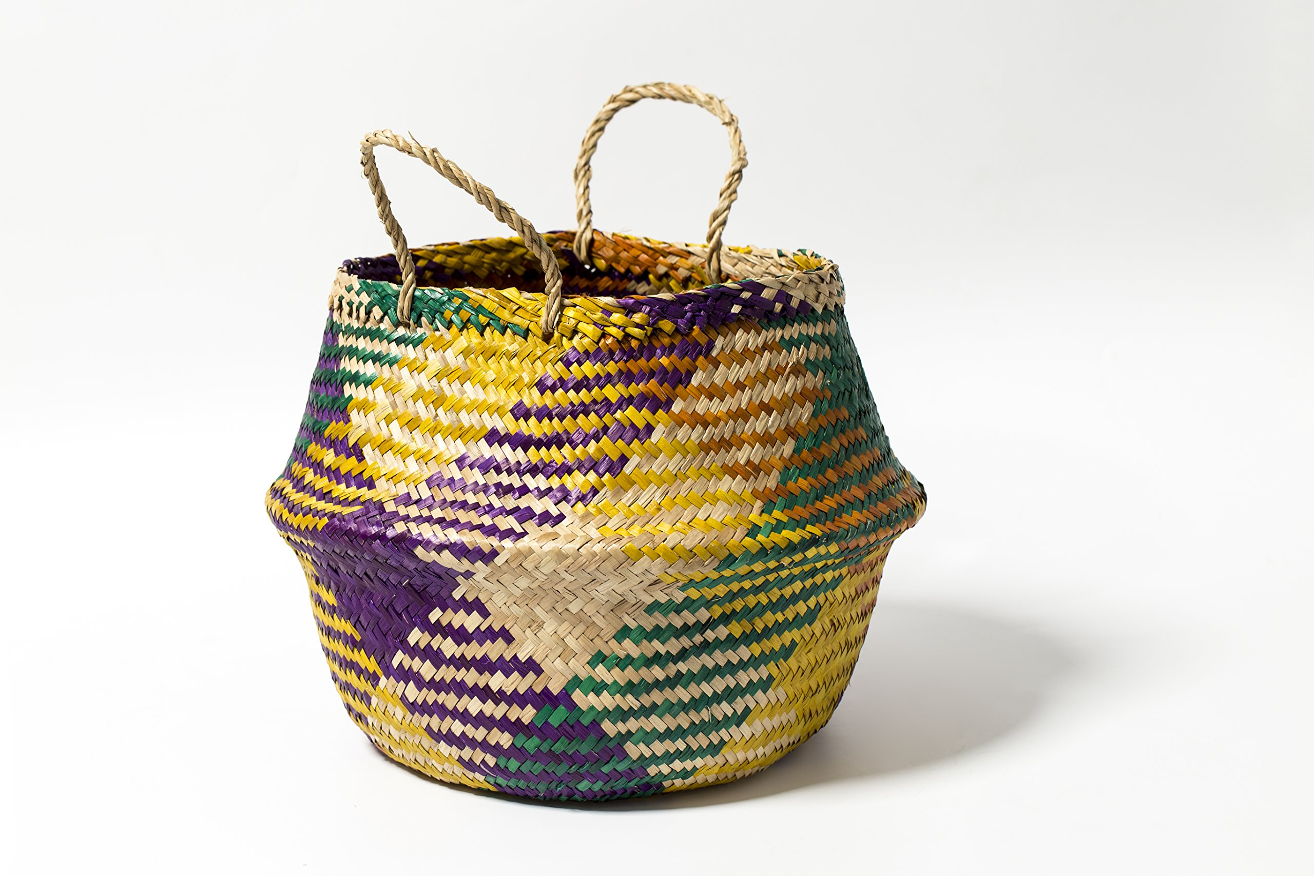 Multi Color All Natural Hand Woven Dried Seagrass Belly Tote Basket, Seagrass Beach Handbag by Thai Long
