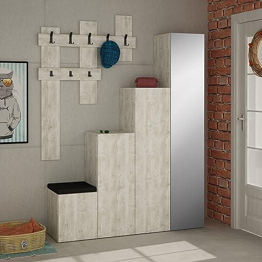 LaModaHome - Perchero de Pared, diseño Vintage, Forma geométrica, Espejo, Color marrón Claro, Estante de Almacenamiento Cuadrado para Escalera, Mueble de Madera: Amazon.es: Hogar