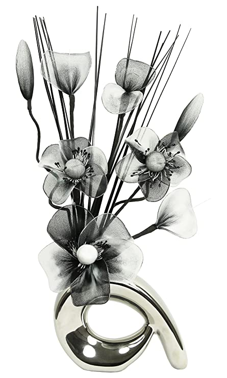 Flourish 793265 32 cm mini swirl vase with artificial flower flourish 793265 32 cm mini swirl vase with artificial flower arrangement blackwhite mightylinksfo