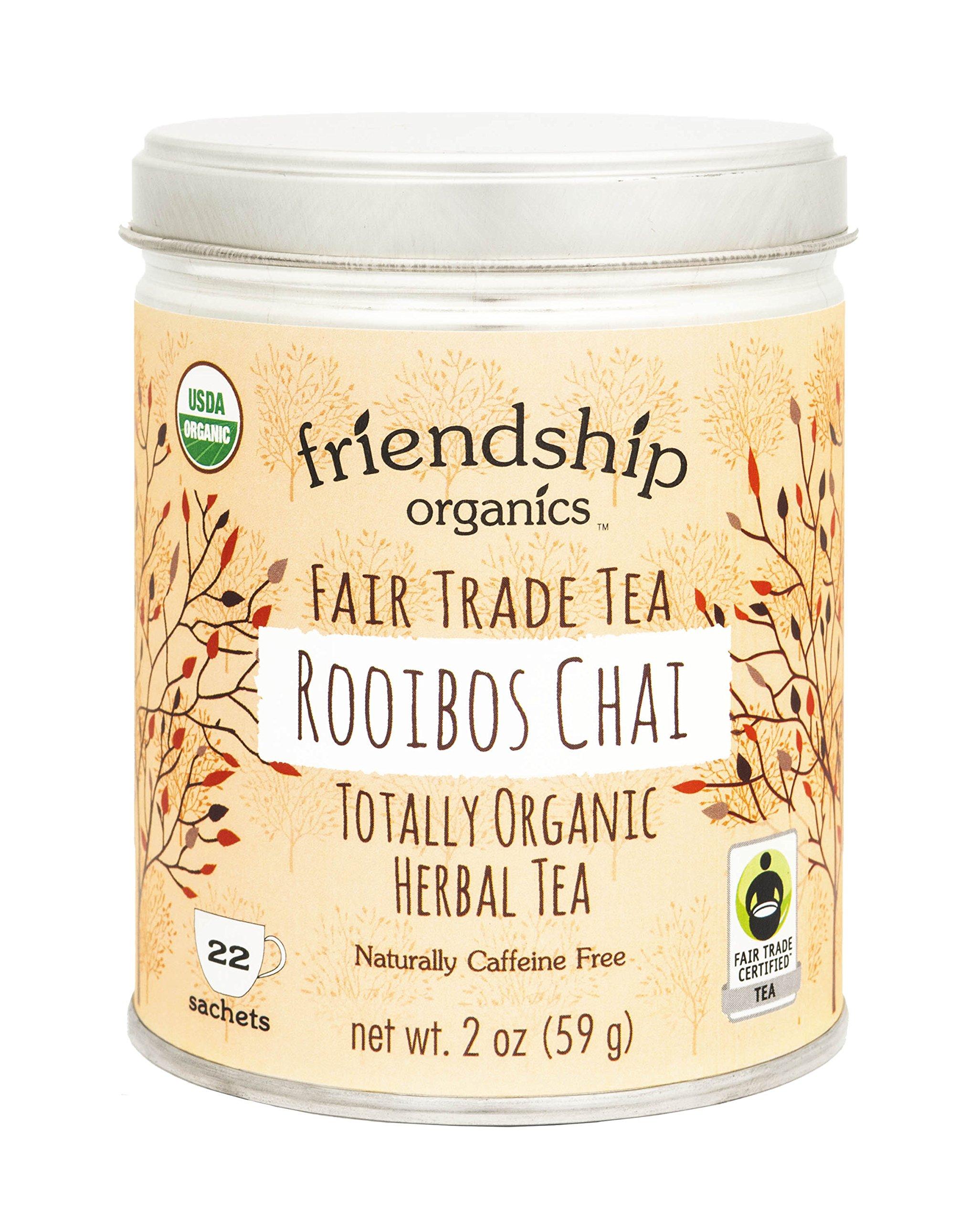 Friendship Organics Rooibos Chai, Totally Organic and Fair Trade Herbal Tea in Tagless Tea Bags (22 count) by Friendship Organics