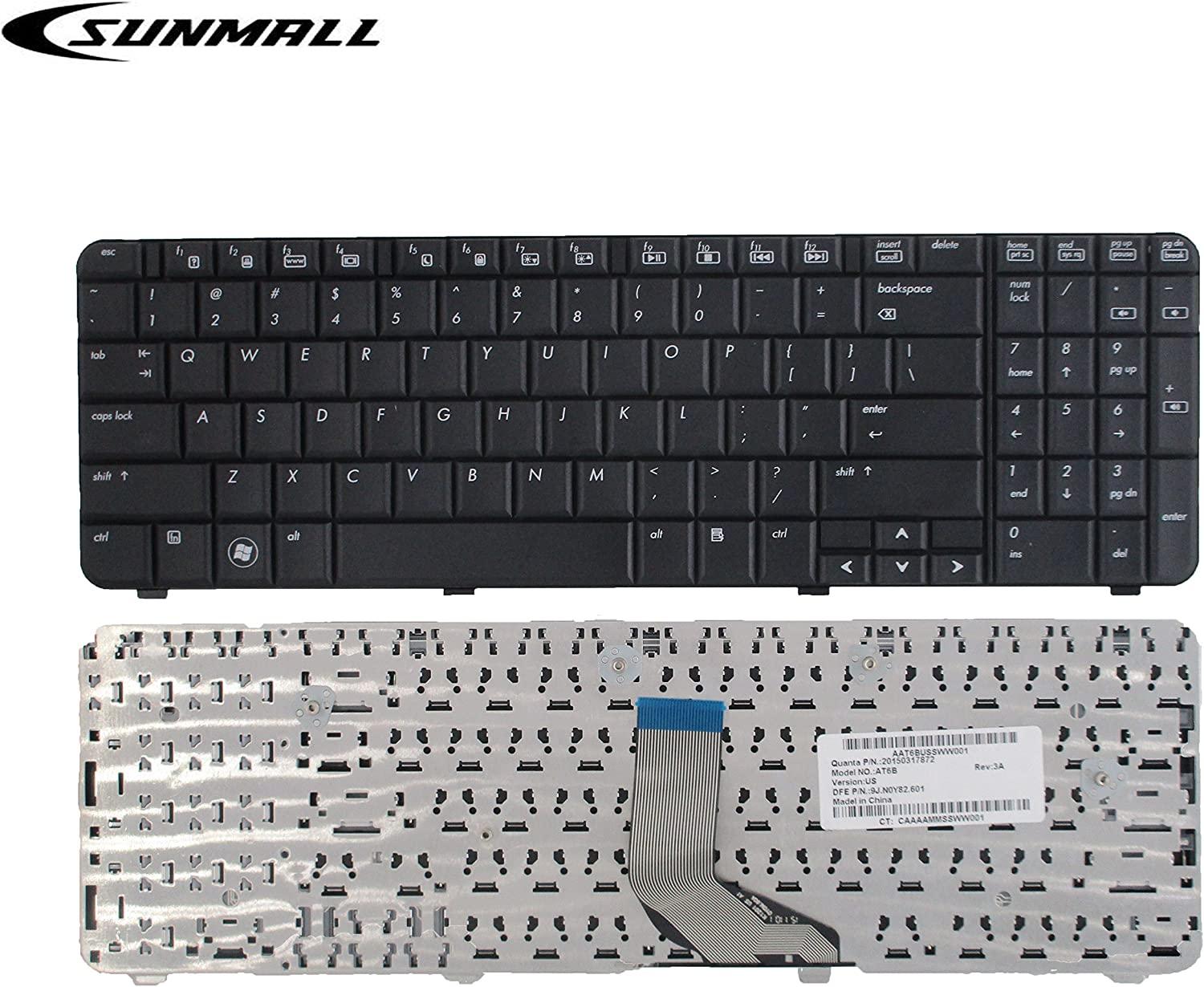 SUNMALL Laptop Keyboard Replacement for HP Compaq Presario CQ61 G61 G61-100 G61-200 G61-300 CQ61-200 CQ61-100 CQ61-300 Series Laptop Black US Layout
