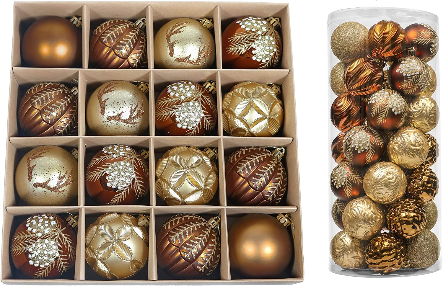 Valery Madelyn Woodland Copper Gold Christmas Ball Ornaments Bundle (2 Items) | 16ct 80mm Christmas Ornament Balls + 35ct 70mm Xmas Balls for Christmas Tree Decor