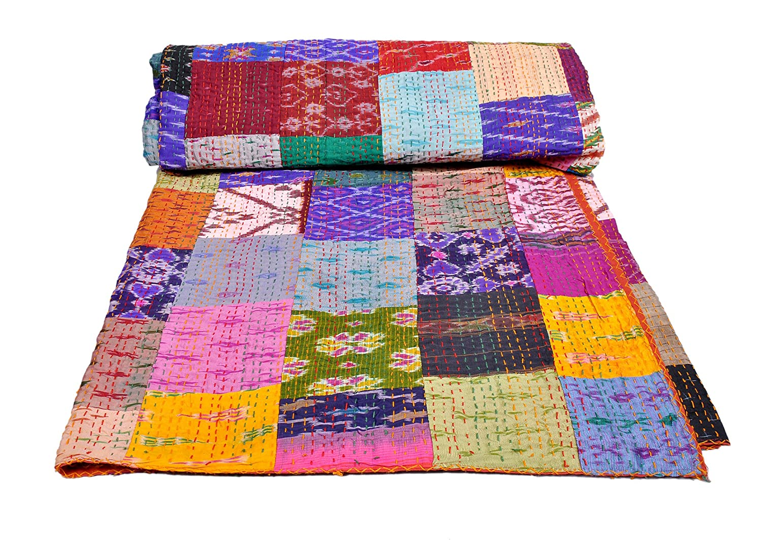 AndExports - Queen Size Multicolored Sari Patchwork Reversible Kantha Quilt, Indian silk sari patola quilt, Recycled Craft, Vintage Kantha Bedspread, Indian Handmade Gudri Bedspread, Unique Piece of Handmade Art