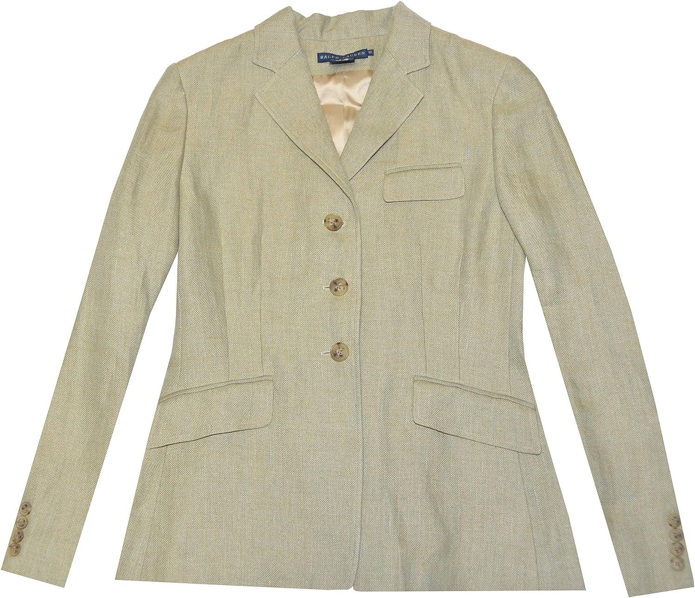 Ralph Lauren Women Linen Blazer Jacket - Made in Italy (6, Light Olive)