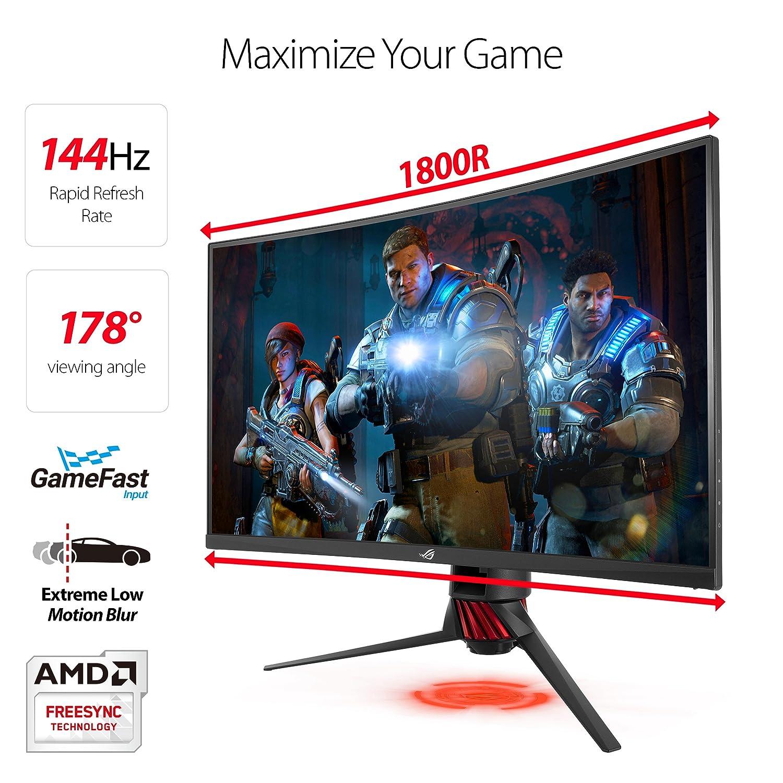 "ASUS 31 5"" Curved Gaming Monitor WQHD 1440p 144Hz DP HDMI Eye Care  FreeSync/Adaptive Sync (ROG Strix XG32VQ)"