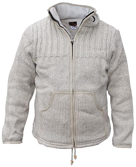 Little Kathmandu Chaqueta de lana de hombre con interior de forro polar, con capucha desmontable: Amazon.es: Ropa y accesorios