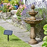 Kingsbury Stone Effect Resin Two Tier Cascade Fountain Solar Water Feature