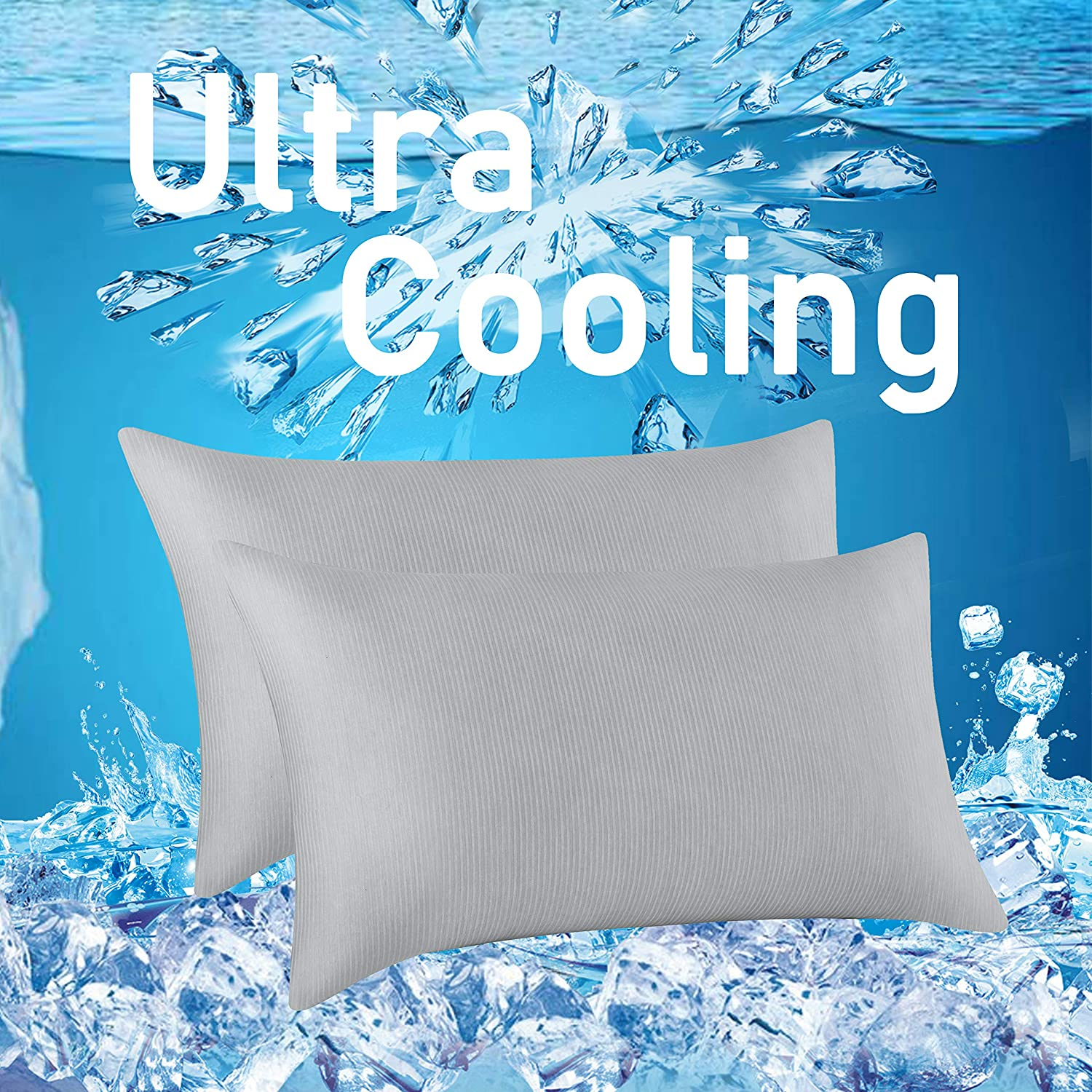 MR&HM Cooling Pillow Case Protector, 2 Pack Queen Pillowcases Cover to Prevent Night Sweat - Breathable Soft, Cooling Eco-Friendly with Envelope Closure (20x30, Grey)
