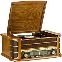 SHUMAN Système de Musique en Bois 7 en 1 / Platine Vinyle / Lecteur CD / Lecteur MP3 / Bluetooth / Port USB / Tuner Radio FM / Enregistrement - Brun (MC250BT)