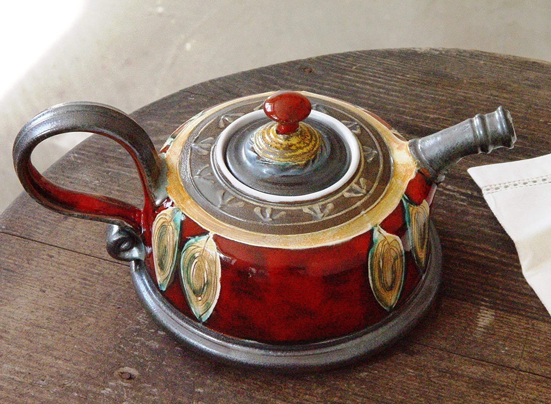 Wheel Thrown Hand Painted Ceramic Teapot