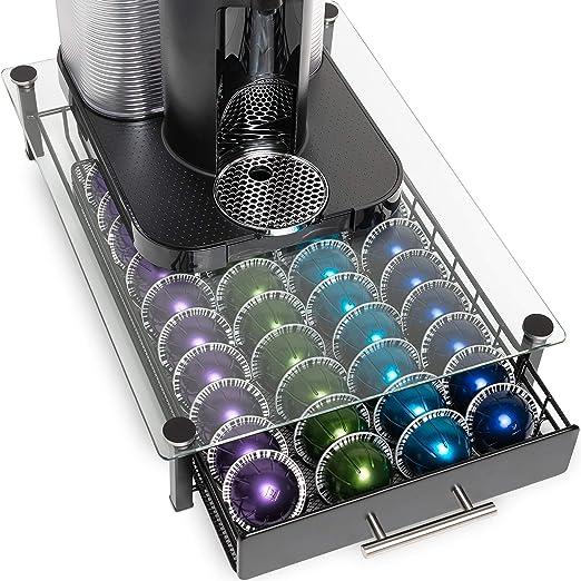 Nook & Niche - Soporte de cristal con cajón para cafetera Nespresso VertuoLine (cápsulas no incluidas): Amazon.es: Hogar