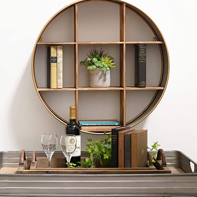 Urban Trends  Trendy Metal Round Wall Shelf with Wood Divider
