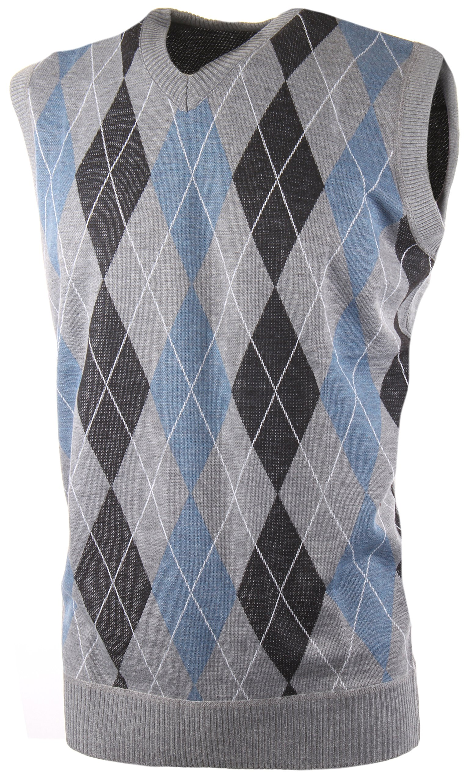 Enimay Men's Business Casual Fashion V Neck Argyle Golf Sweater Vest Argyle Grey   Blue Small