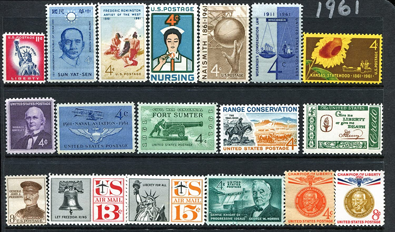COMPLETE MINT SET OF POSTAGE STAMPS ISSUED IN THE YEAR 1961 BY THE U.S. POST OFFICE DEPT.