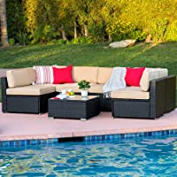 7-Piece Wicker Sectional Sofa (Black or Brown)