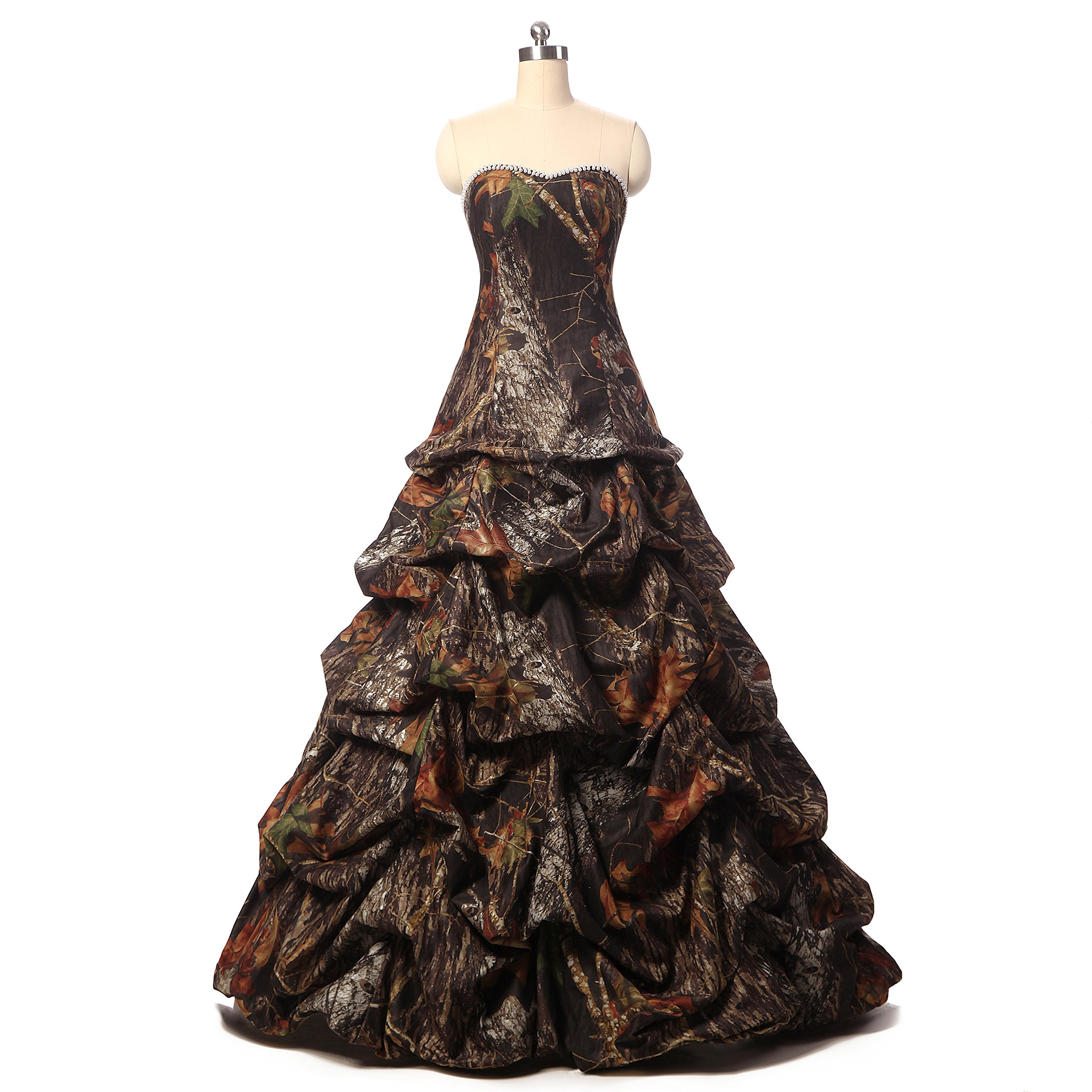 YOUAREFACNY Womens Camouflage Ball Gown Bride Dress for Wedding Camo Evening Gown