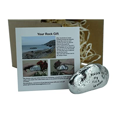 Pirantin 15th Anniversary You are My Rock Gift Idea - Solid Metal Heavy Polished Rock Gift for 15 Year Anniversary : Garden & Outdoor
