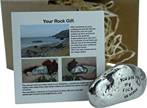 Pirantin 15th Anniversary You are My Rock Gift Idea - Solid Metal Heavy Polished Rock Gift for 15 Year Anniversary