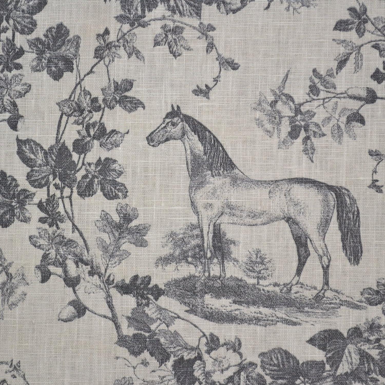 Tissu en lin imprimé - Le cheval noble - gris et blanc crème (en ...