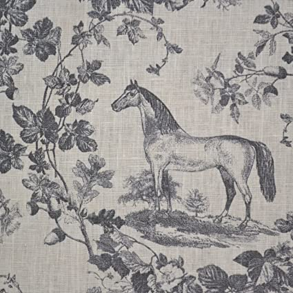 Amazoncom 100 Linen Fabric Equestrian Horse Print The Noble