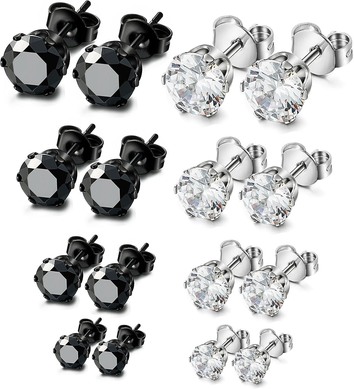 ORAZIO 8 Pairs Stainless Steel Mens Womens Stud Earrings Pierced Cubic Zirconia Earrings, 3mm-10mm Available