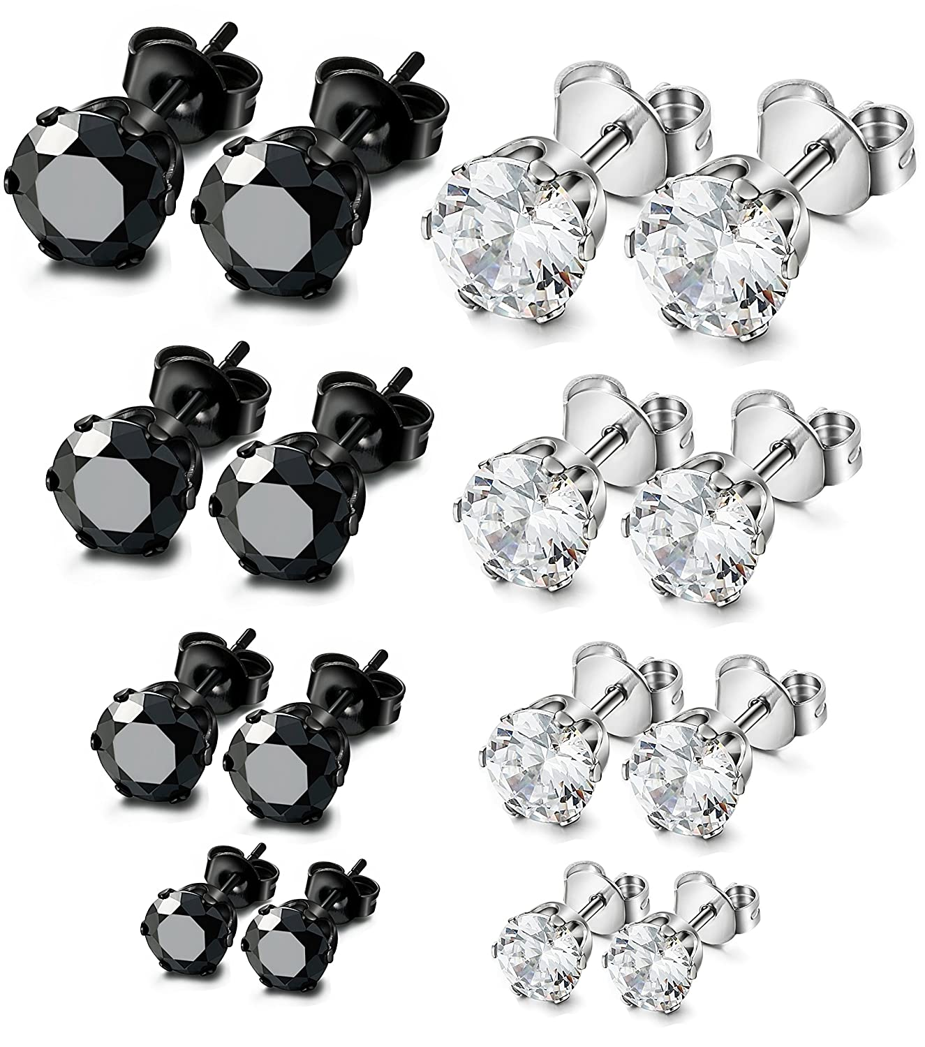 ORAZIO 8 Pairs Stainless Steel Mens Womens Stud Earrings Pierced Cubic Zirconia Earrings, 3mm-10mm Available 3mm-6mm EH03-8SET