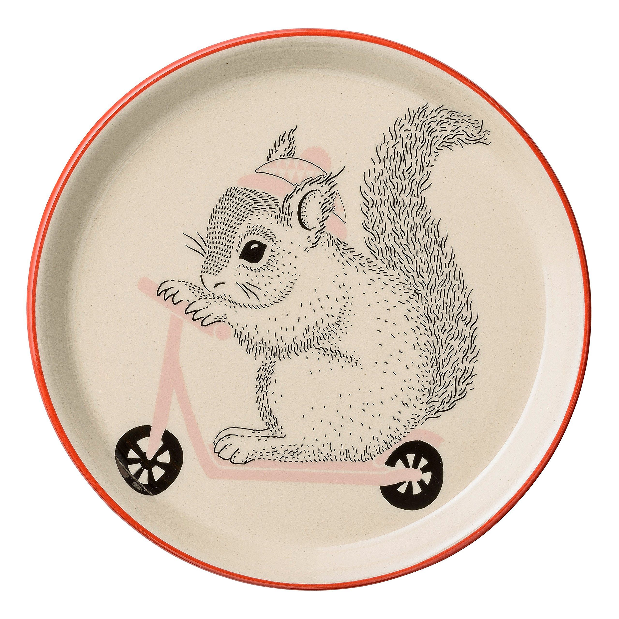 Bloomingville A21100624 Ceramic Mollie Plate with Squirrel, Multicolor