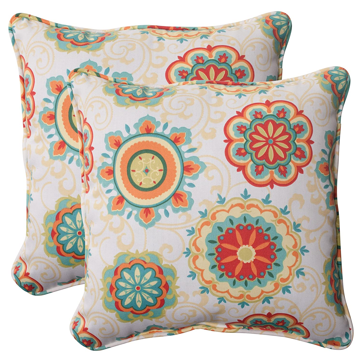 Pillow Perfect Indoor/Outdoor Fairington Aqua Corded Throw Pillow
