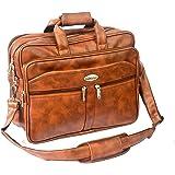 "Widnes Faux Leather 16"" Brown Laptop Messenger Bag"
