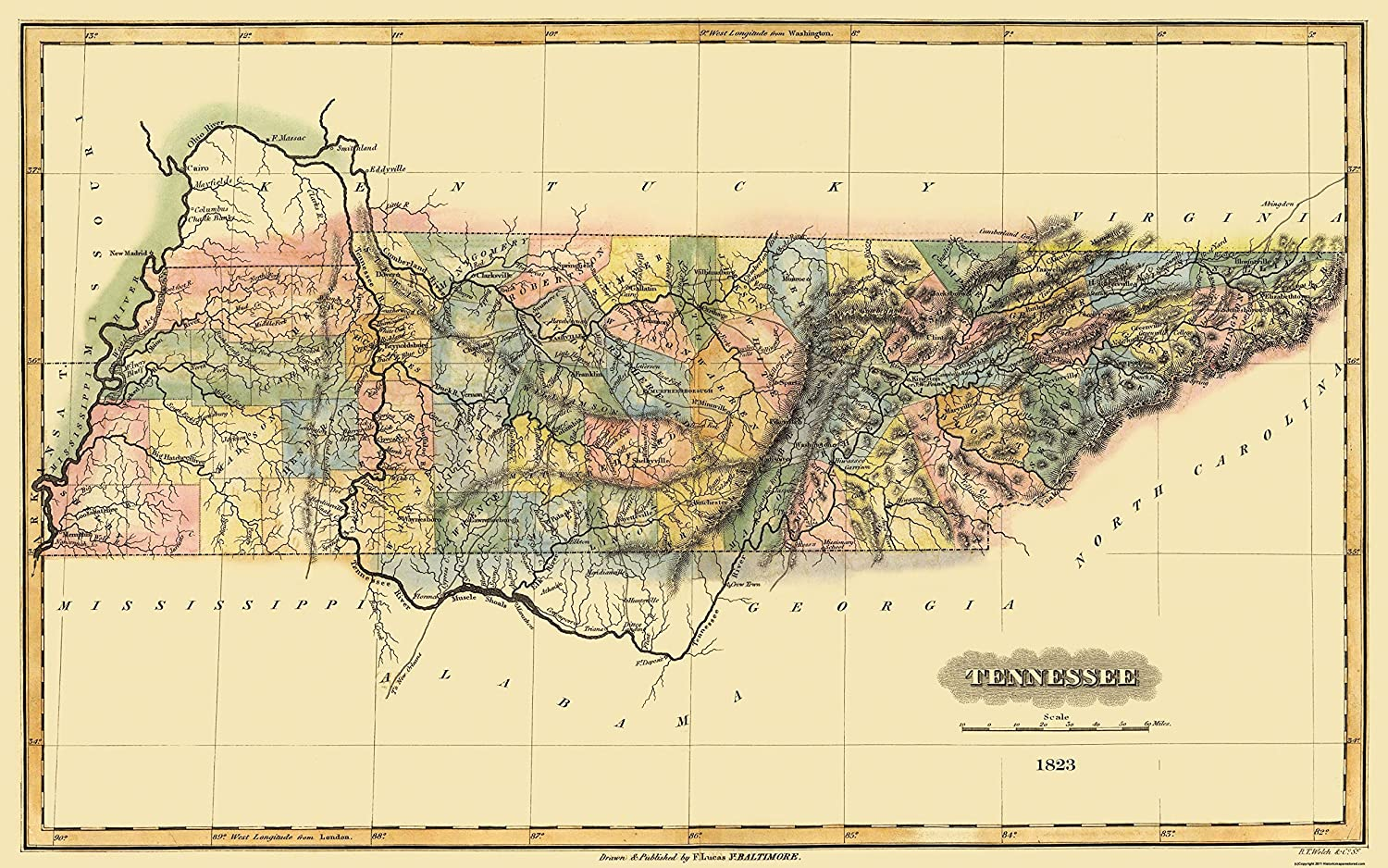 Amazon Com Old State Map Tennessee Lucas 1823 36 81 X 23