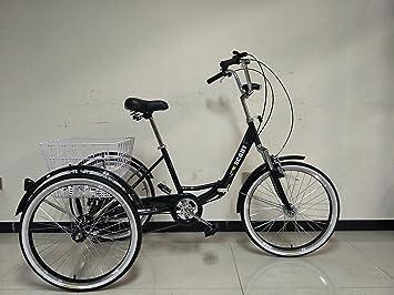 SCOUT® TRIKES - Triciclo para adultos, marco plegable con suspensión, ruedas de 24 pulgadas, marchas Shimano de 6 velocidades, negro: Amazon.es: Deportes y ...