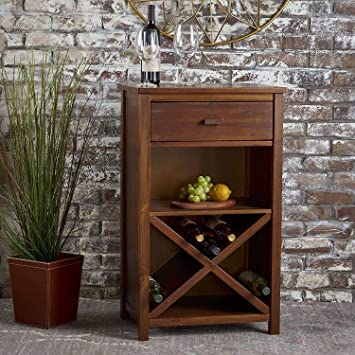 Mahima Handicarft Pre-Assemble Solid Sheesham Wood Bar Cabinet Furniture with Drawer for Home | Living Room | Natural Brown