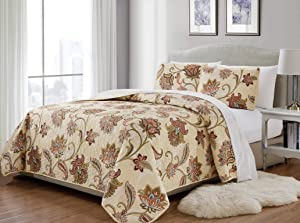 Mk Home 3pc King/California King Bedspread Quilted Print Floral Beige Red Blue Taupe Over Size New # Jane 64