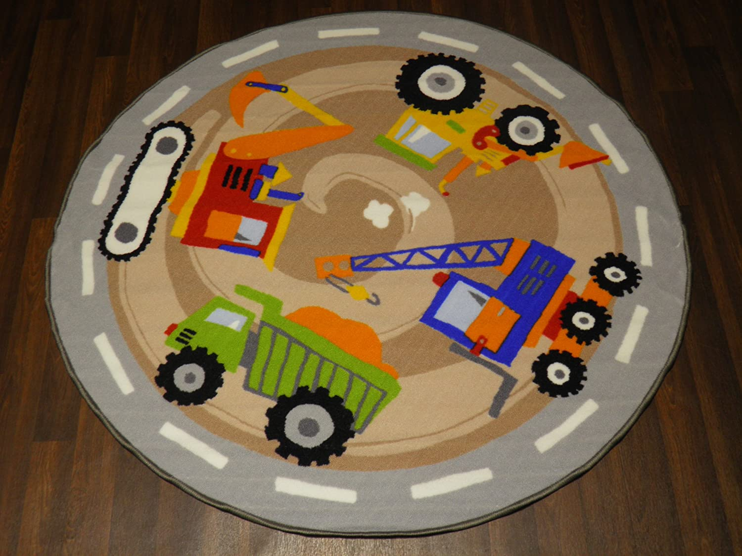 Non Slip Backing 133cm x 133cm Kids Diggers Quality Rug/Mat Hours Of Fun OrientalRugCompany