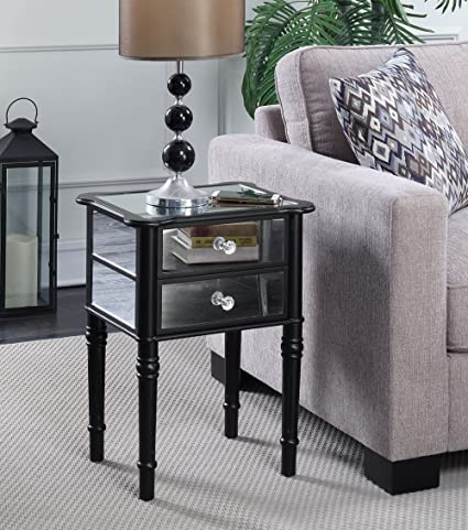 Convenience Concepts Gold Coast Collection Mayfair Mirrored End Table, Black