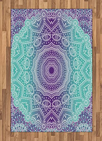 Amazon Com Ambesonne Purple And Turquoise Area Rug Hippie Ombre
