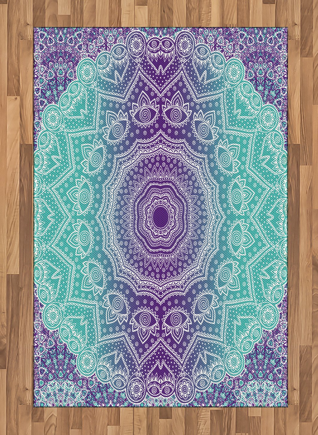 Ambesonne Purple and Turquoise Area Rug, Hippie Ombre Mandala Inner Peace and Meditation with Ornamental Art, Flat Woven Accent Rug for Living Room Bedroom Dining Room, 4 X 5.7 FT, Purple Aqua