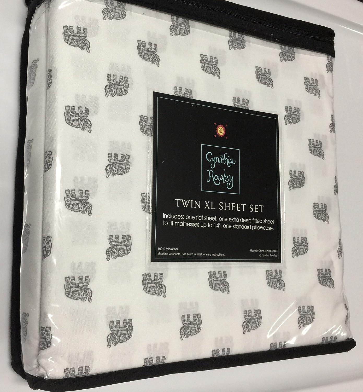 Amazon.com: CYNTHIA ROWLEY MICROFIBER TWIN XL SHEET SET MARCHING