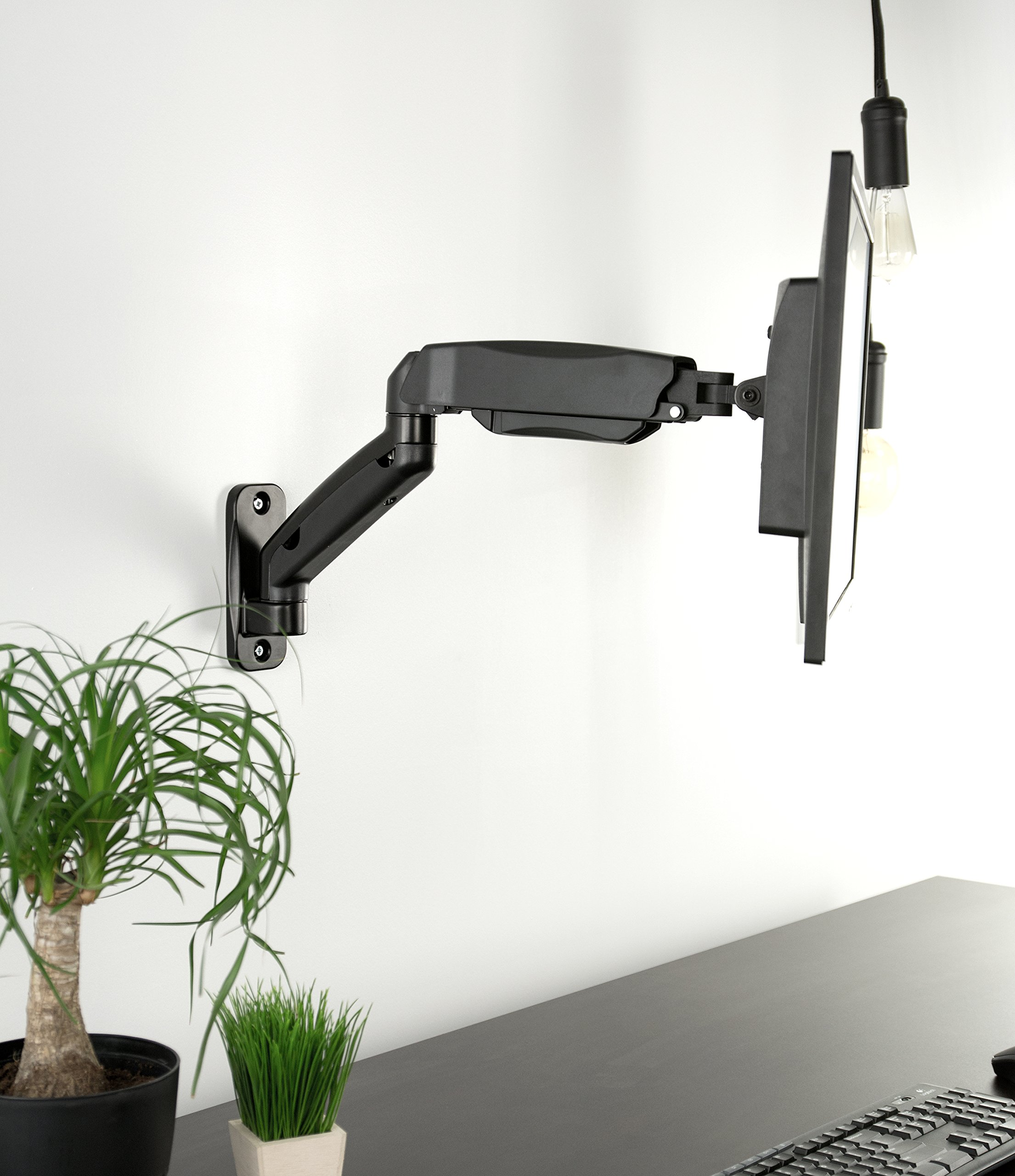 VIVO Black Height Adjustable Gas Spring Extended Arm Single Monitor Wall Mount Full Motion Articulating | fits 17'' to 27'' Screens (MOUNT-V001G) by VIVO (Image #3)