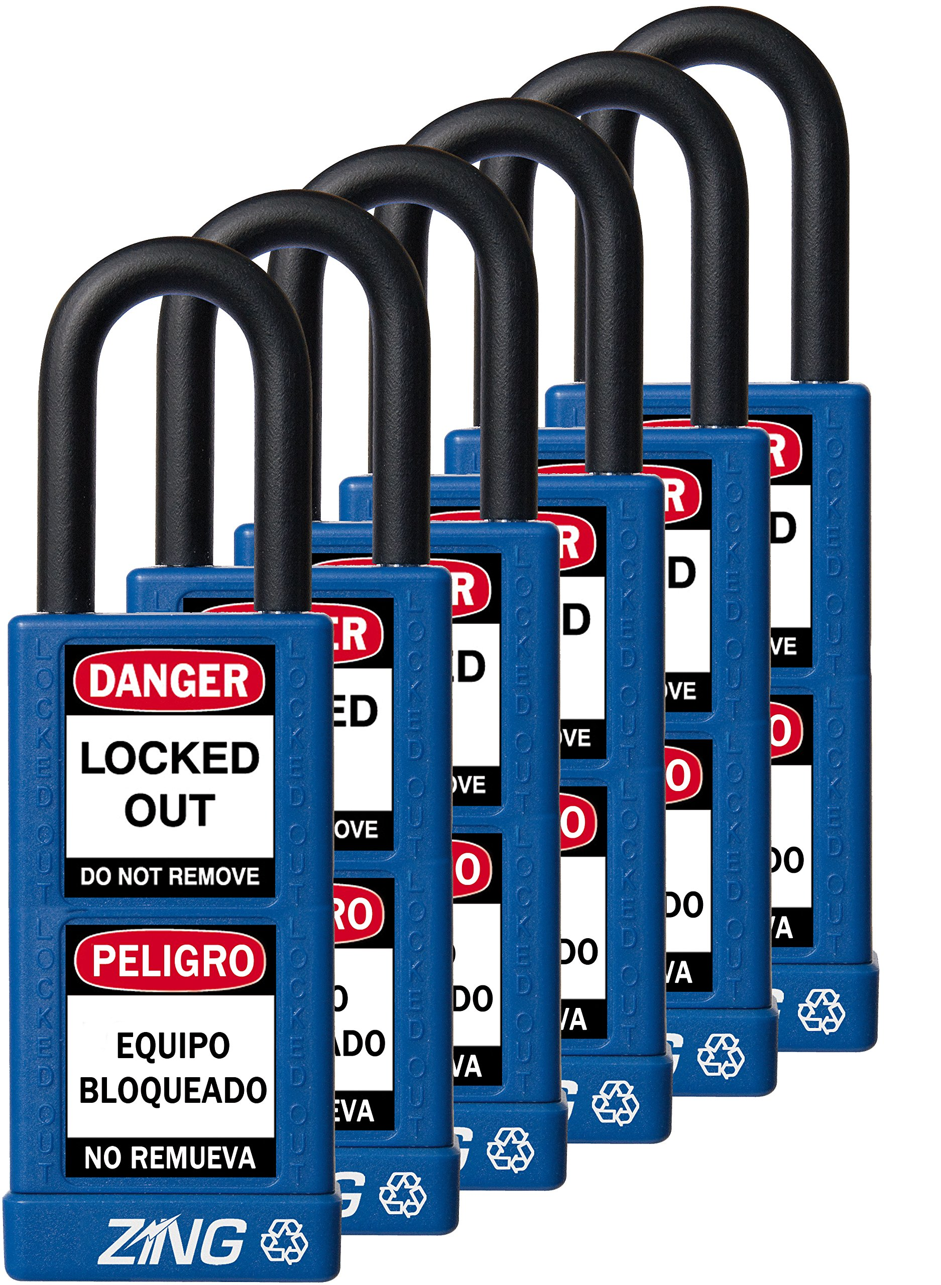 ZING 7089 RecycLock Safety Padlock, Keyed Alike,1-1/2'' Shackle, 3'' Long Body, Blue, 6 Pack