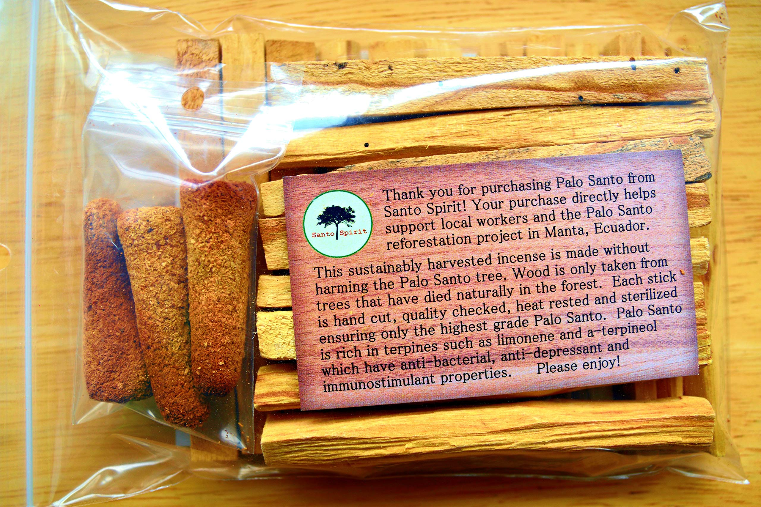 Santo Spirit Palo Santo Holy Wood Incense Smudge Sticks - 20 Pack Free Bonus 3 Palo Santo Incense Cones | 100% Natural | Hand Cut | High Resin | Sustainably Sourced | Clears Negative Energy by Santo Spirit (Image #5)