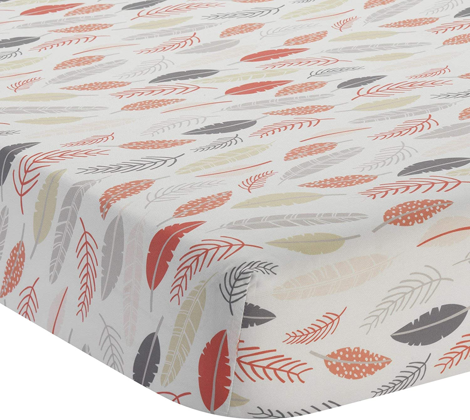 Lambs /& Ivy Family Tree Coral//Gray//Gold Feather Fitted Crib Sheet