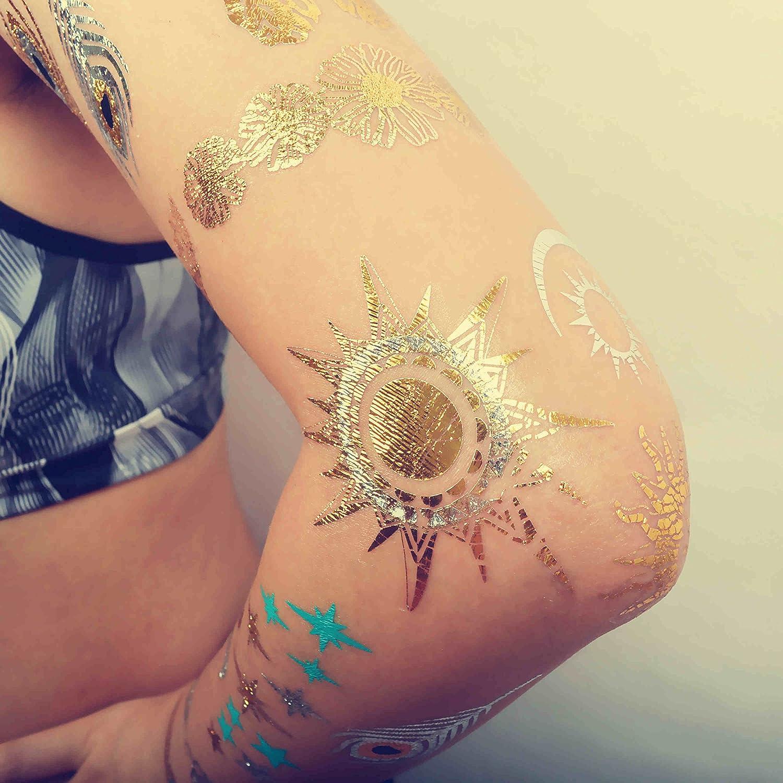 COKOHAPPY Metálico Temporales Tatuaje Sol Luna Estrella Falso Joyas Joyería Dorado Plateado: Amazon.es: Belleza