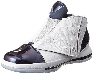 low priced 847cd 097ee Amazon.com   Nike Jordan Mens Air Jordan 16 Retro White White Midnight Navy  Casual Shoe 10.5 Men US   Shoes