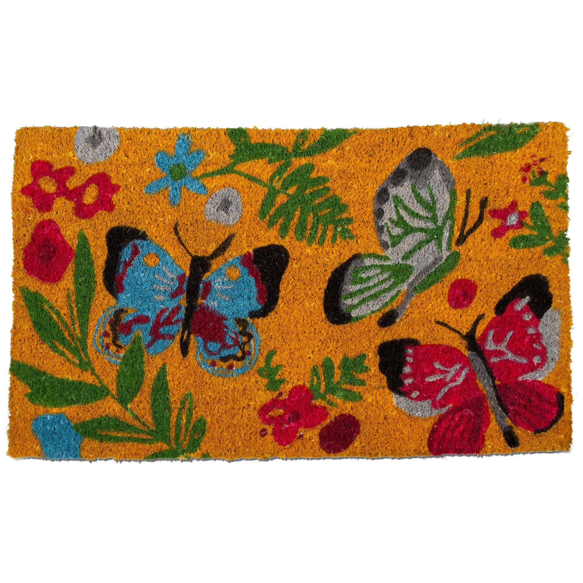 tag - Sunshine Butterfly Coir Mat, Decorative All-Season Mat for the Front Porch, Patio or Entryway, Multi by tag